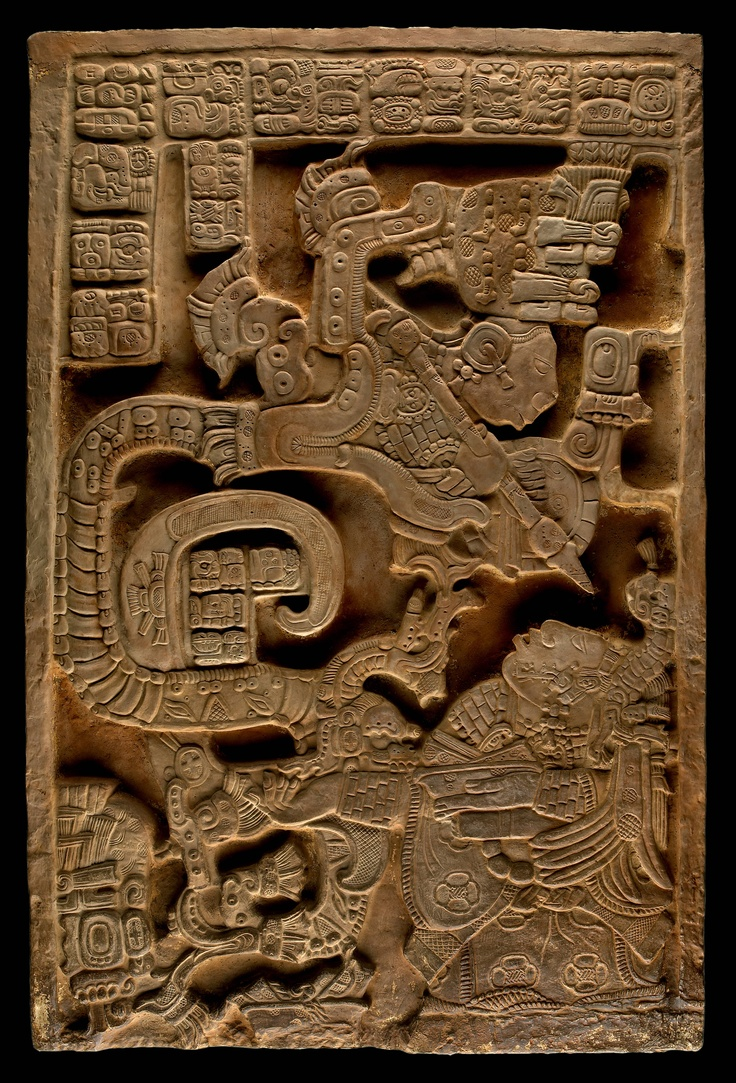 "Lady Xoc on Mayan Lintel Panel 25. She is depicted here having a supernatural experience with a so-called ""Vision Serpent,"" an ancestor in warrior attire emerging from the mouth of an underworld snake, twisting upward from burning blood-soaked paper strips of self-sacrifice. Carved Stone. Yaxchilan Ruins, Chiapas, Mexico."