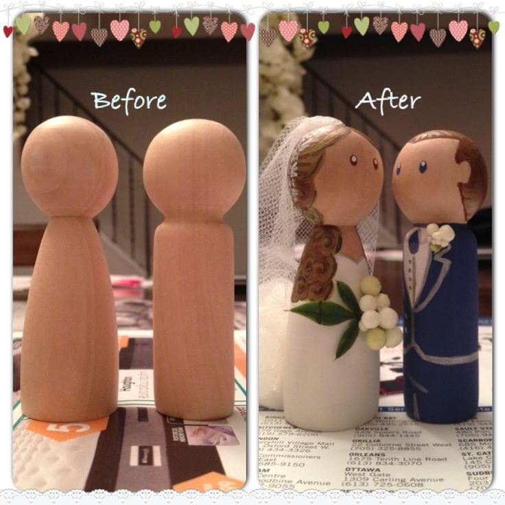 """Our wooden peg doll cake toppers!  I hand-painted with acrylic paint and hot-glued tulle and other floral decor for """"bouquet"""" and """"boutonnière"""".  I make and sell these - order now at www.etsy.com/ca/shop/GlitterandGemCanada $25 and free shipping anywhere in Canada, $5 to the US."""