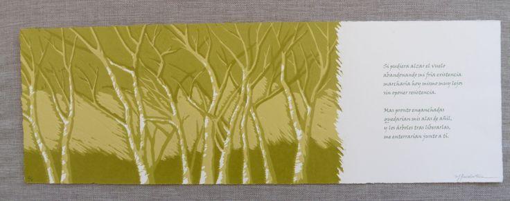 Grabado, xilografía: Los árboles verdes de ElCuadernoDeNacar en Etsy