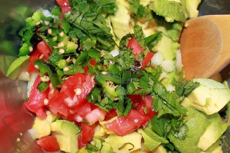 Three Chili Guacamole - Mixing Ingredients