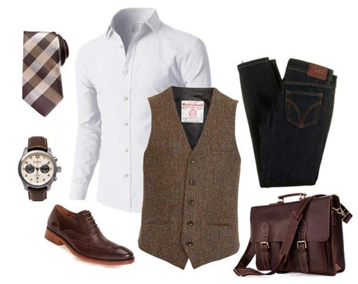 Combo masculino de trabalho com estilo. Destaque para o colete social e a gravata xadrez.