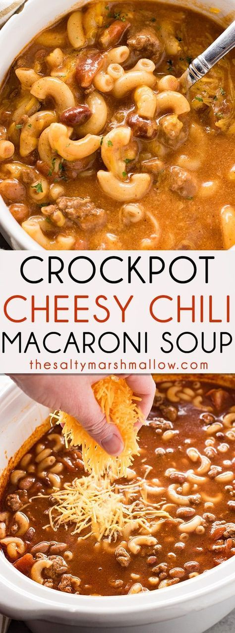 Crockpot Cheesy Chili Macaroni Soup - This hearty and easy to make dinner combines cheesy chili and macaroni soup right in your slow cooker! The best chili-mac you'll ever have turned into an amazing soup loaded with beef, beans, cheese, and macaroni!