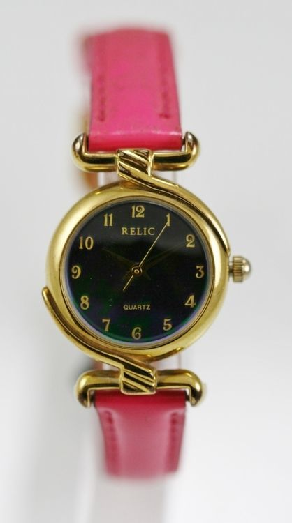 Relic Watch Womens Green Purple Stainless Gold Water Resist Pink Leather Quartz
