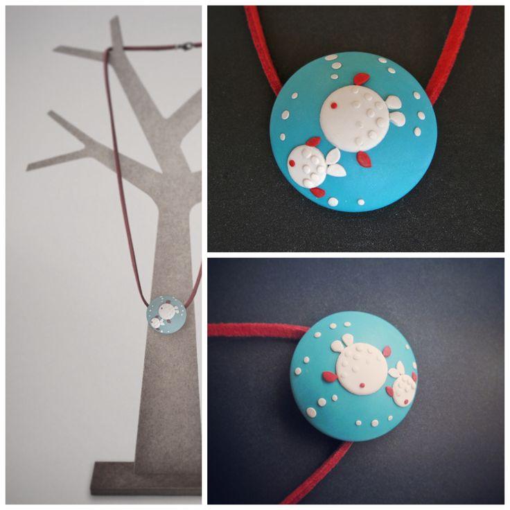 #fimo,#sculpey,#moda,#complementos infantiles. http://sofiasthings.com. Camafeo peces turquesa.