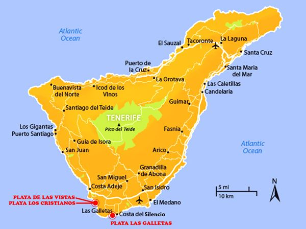 Isola Tenerife Cartina.Spiagge Di Tenerife Mappa Tenerife Spiagge Spiaggia