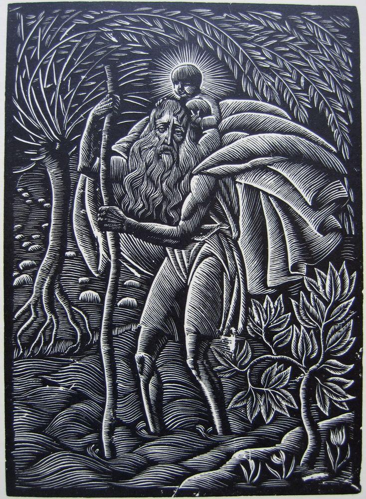 Wladislaw Skoczylas, Saint-Christophe Wood engraving, 1929