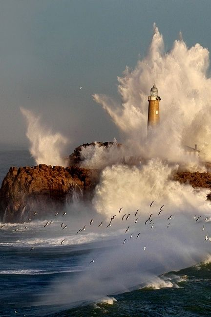 Ocean's Crashing embrace..the lighthouse unmoved and statuesque as a flock of seabirds train by~ ~*~moonmistgirl~*~