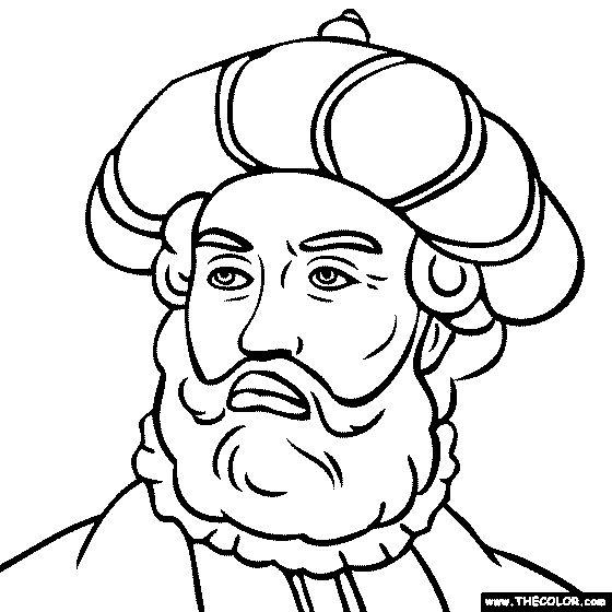 Vasco da Gama Portuguese Explorer Ship Captain coloring