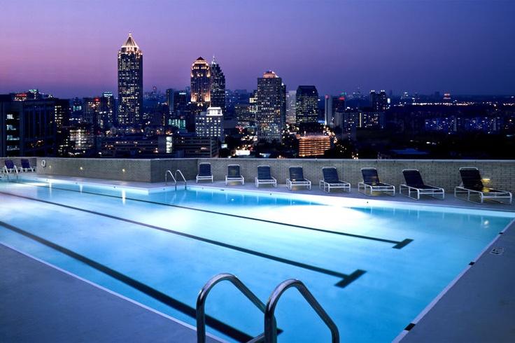 Swim laps above mid-town Atlanta at the Georgian Terrace Hotel