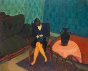 Berény Róbert - Nő zöld szobában, 1927