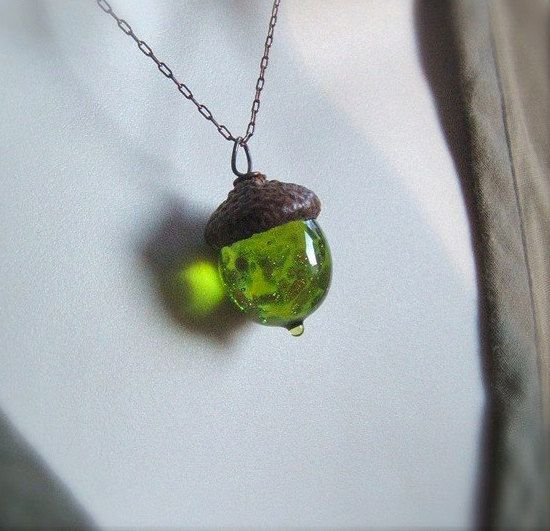 Glass Fall Acorn Necklace Jewelry  Olivine with by bullseyebeads, $24.00
