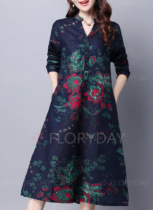 Dresses - $40.99 - Linen Floral Long Sleeve Mid-Calf Casual Dresses (1955127789)