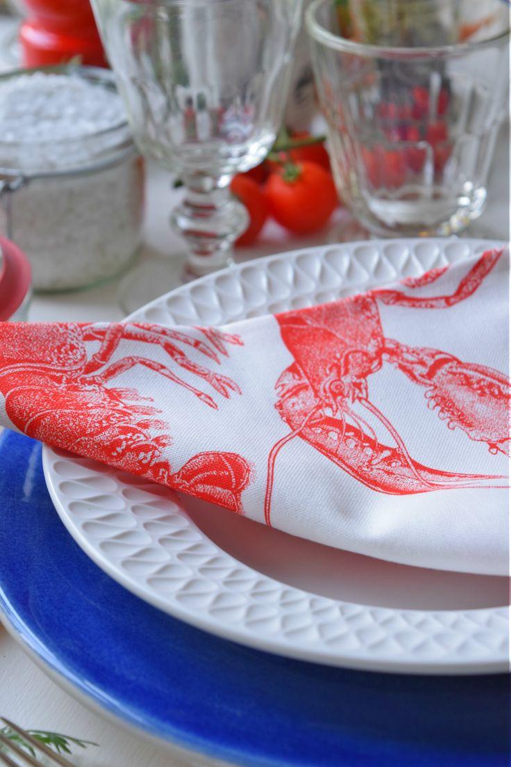 Blauer Mateus Keramikteller Thema: Hummer Dinner in Rot,Weiß,Blau #Tischdeko #tischdekoration