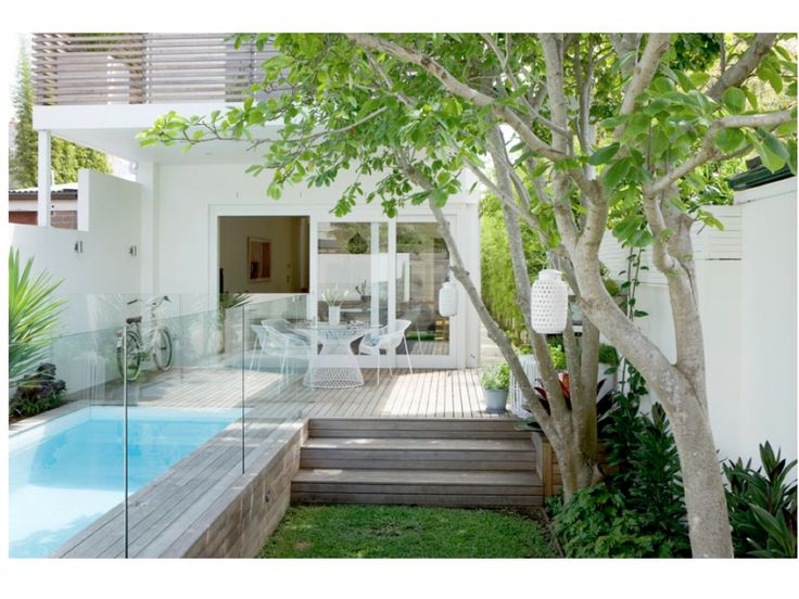 Exterior Inspiring Backyard Ideas and Fabulous Landscaping Designs: Minimalist Home Backyard With Small Swimming Pool With Removable Pool Protection Fencing Wooden Deck Flooring With Garden