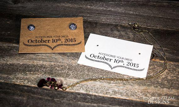 Custom Earring Cards, Wedding Jewelry Display Card, Set of 10 Display Cards, Kraft & White Earring Cards