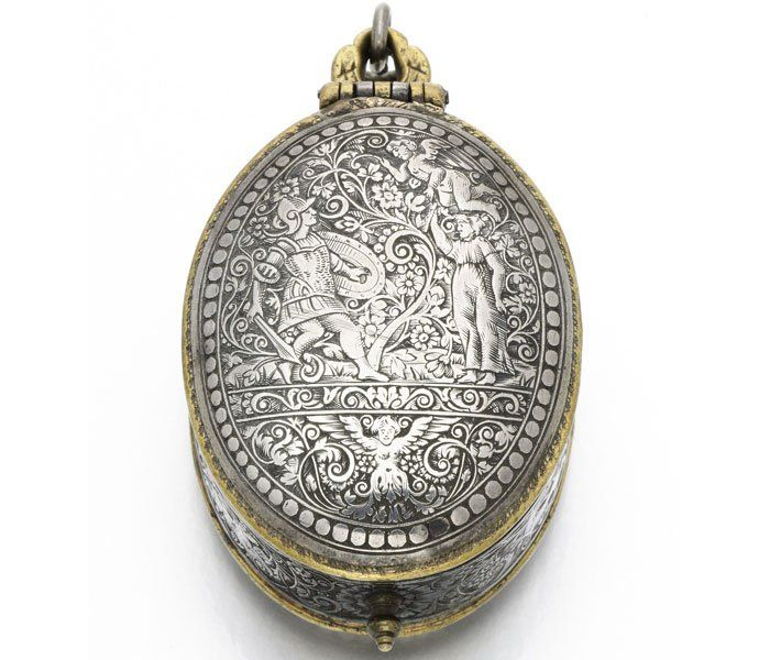 Silver and gilt oval verge watch with sundial and compass made by Cauchoys circa 1625