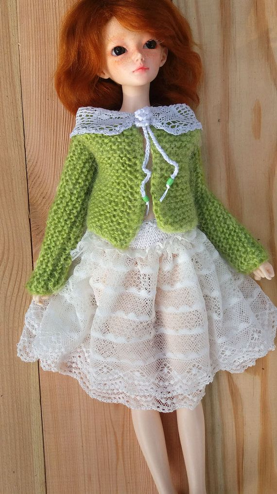 BJD MINIFEE Set  lace white skirt and green cardigan OOAK