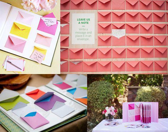 Sobres de colores con mensajes ocultos en tus libros de firmas para bodas