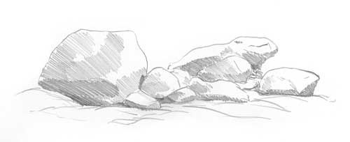 Dessiner des rochers - Drawing Rocks tutorial - basic box principle of lighting