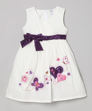 This White & Purple Hearts A-Line Dress - Toddler & Girls by Littoe Potatoes is perfect! #zulilyfinds