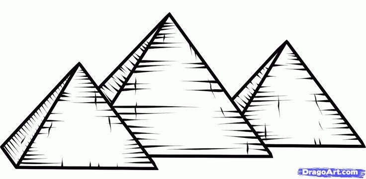 how to draw the pyramids of giza, pyramids of giza step 6
