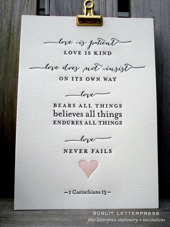 "Letterpress Wedding Art Print  ""Love Is""  – 1 Corinthians Bible Verse, Bible Quote - Love Never Fails - Corinthians 1:13 Christian Gift"
