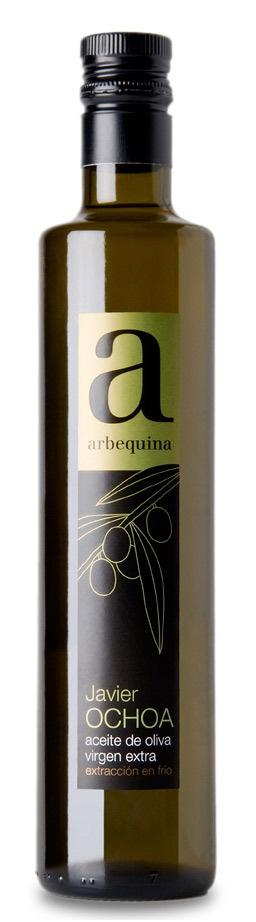 Diseño de etiqueta para aceite Arbequina de Javier Ochoa (Olite, Spain).