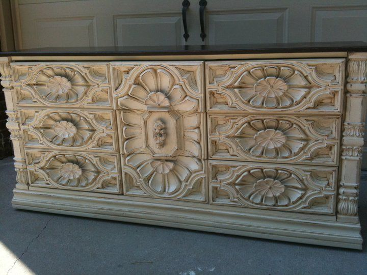 70's brown Mediterranean dresser goes from grody to gorgeous!