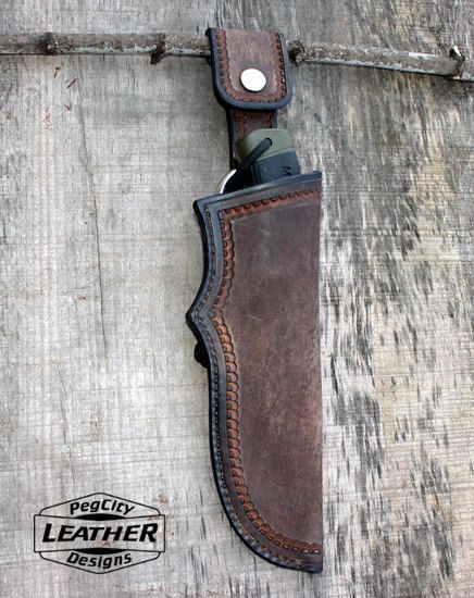 Bushcraft Leather Knife Sheath / Leather Sheath by PegCityLeather