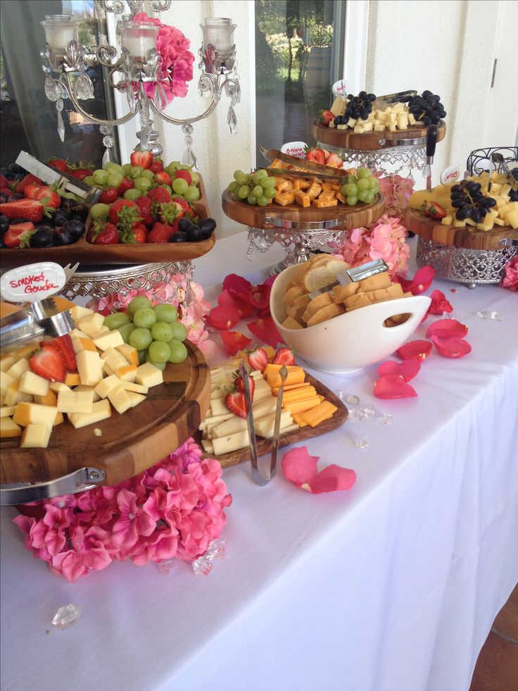 Beautiful cheese displAy for wedding appetizer hour.