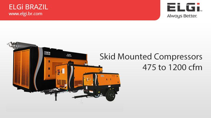 Skid Mounted Compressors 475 to 1200 cfm  Skid Mounted Compressors are ideal for mounting on drill rigs or utility trucks and suited for  applications like water well drilling. Get more details @ http://www.elgi.br.com/skid-mounted-compressors-475-1200-cfm/  SkidMountedCompressors, AirCompressors, SkidCompressors