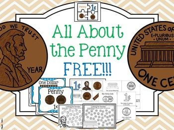 "Introduction to PENNY with posters, activities, worksheets, value, Abraham Lincoln, Lincoln Memorial, one cent, picture of ""heads"" and ""tails"" (including shield version).    This is a FREE SAMPLE of the penny to see included per coin in my total coin package."