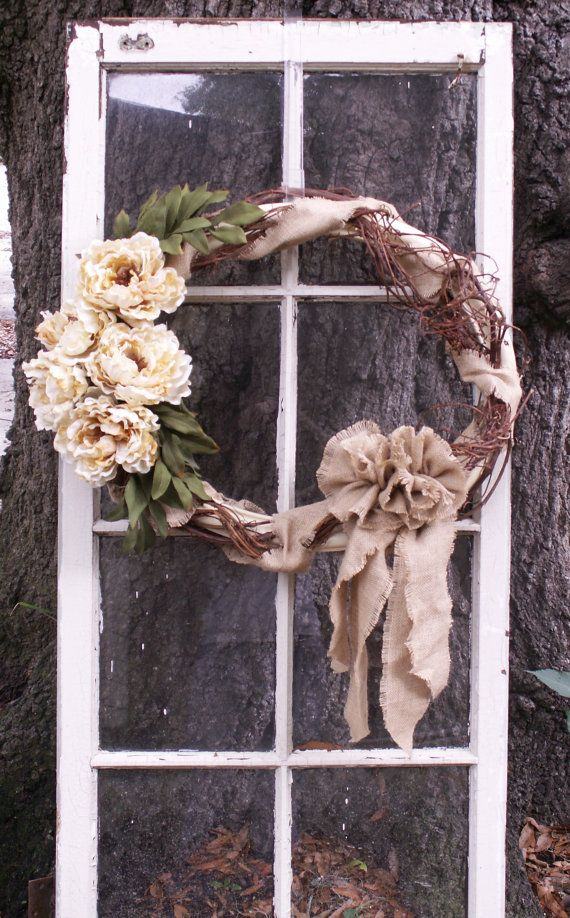 Oval Frame Wreath with Cream Peonies and Burlap by ThrownTogether
