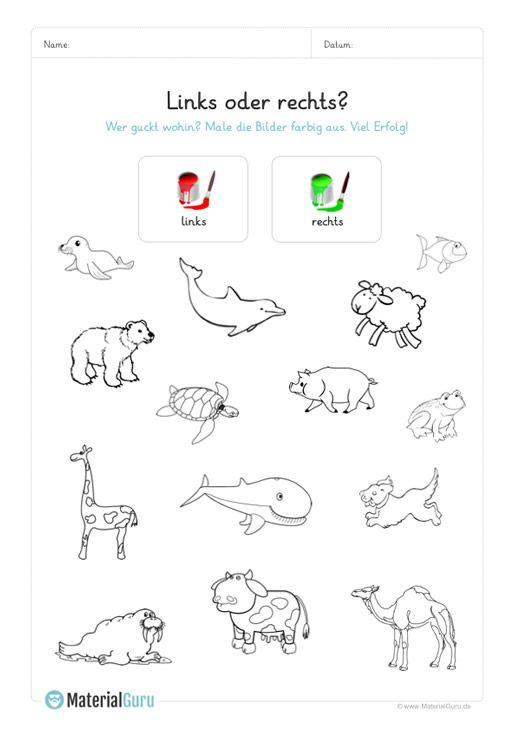 ein kostenloses arbeitsblatt f r die vorschule auf dem die kinder nach links guckende tiere rot. Black Bedroom Furniture Sets. Home Design Ideas