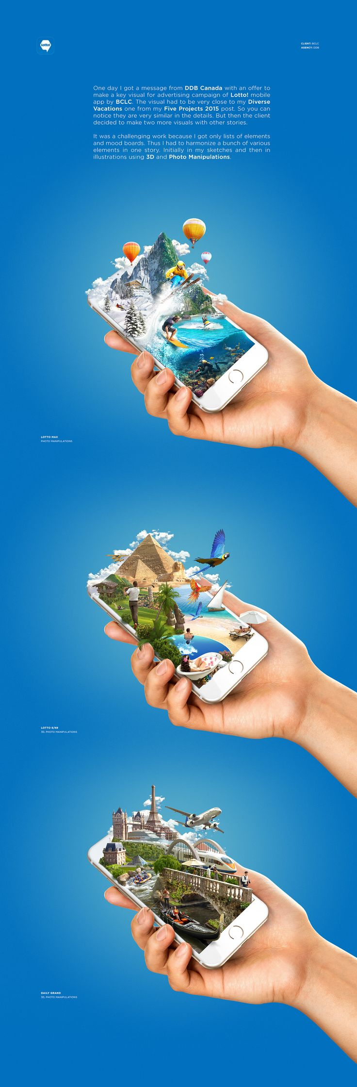 best photo manipulation images photo editing  one day i got a message from ddb an offer to make a key visual for advertising campaign of lotto mobile app by bclc
