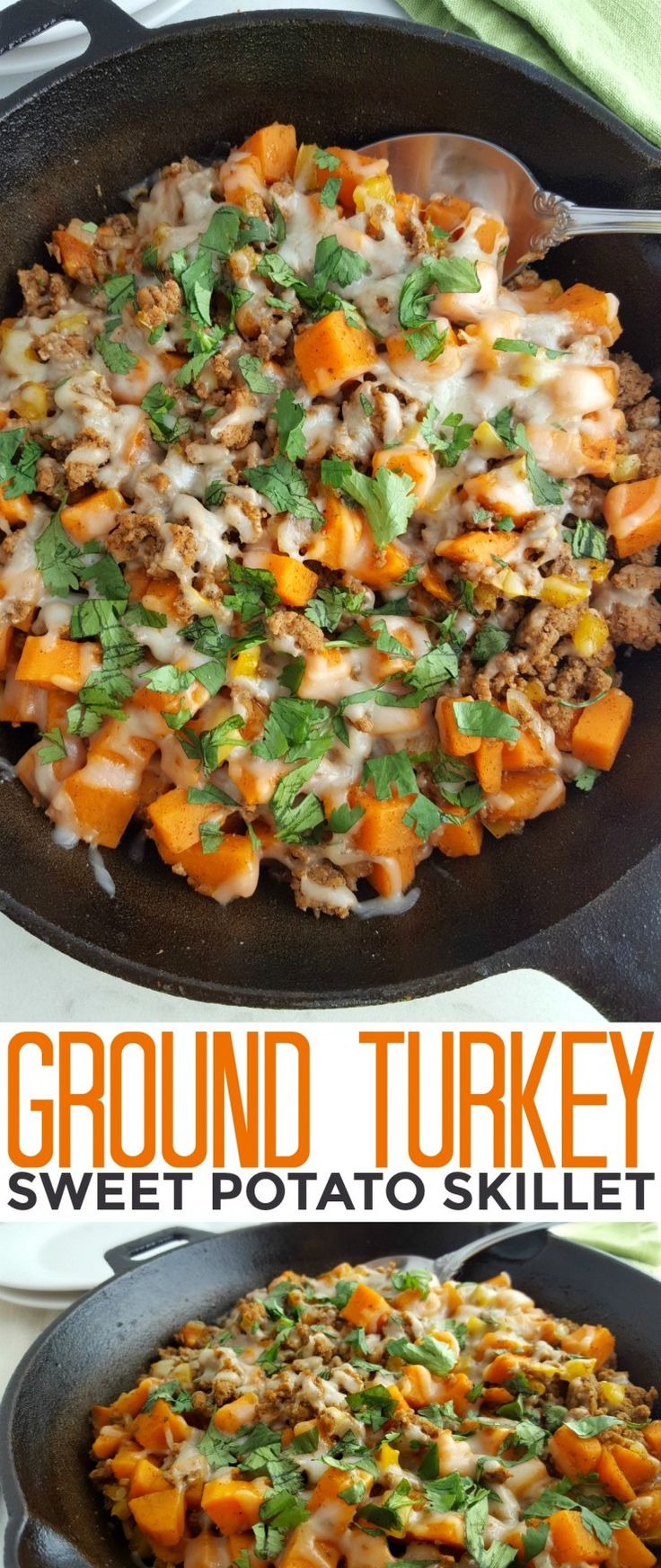 This Ground Turkey Sweet Potato Skillet is a healthy gluten free meal that is full of flavour and hearty enough to feed your family quickly on busy weeknights!
