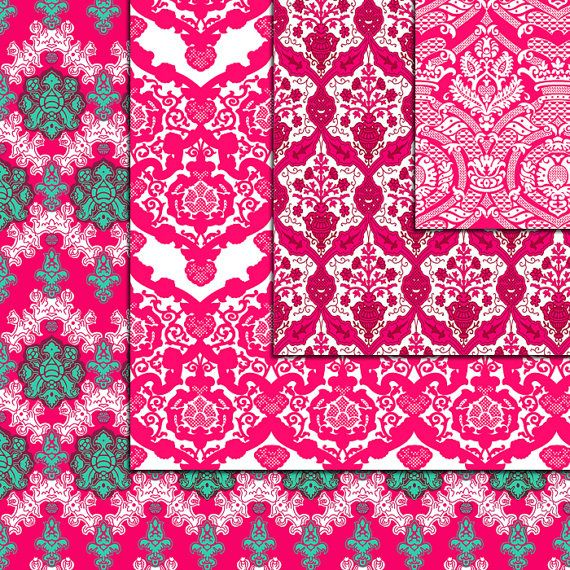 12 Pink Damask Digital Paper Pack paper by DigitalMagicShop