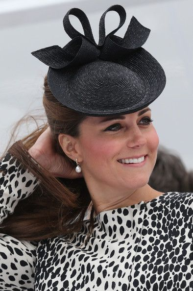 Catherine, Duchess of Cambridge's hat with bow detail by Jane Taylor during the Princess Cruises ship naming ceremony on 13 June 2013