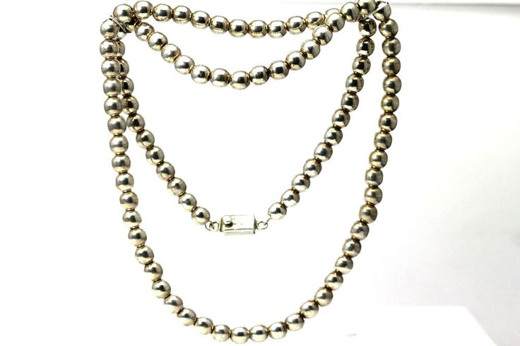 "8 mm Sterling Silver 925 Beaded 30"" Long Chain Necklace 88.3 Grams (NEC2708) #Unbranded"