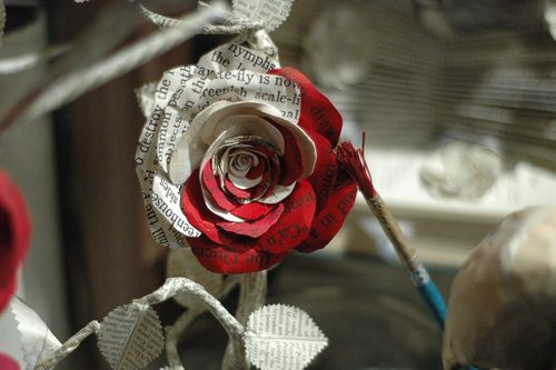http://postcaption.com/uploads/2011/02/Paper-Rose_0.jpg: Paper Roses, Roses Red, Alice In Wonderland, Paper Flower, Book Pages, Queen Of Heart, Paintings, Aliceinwonderland, Crafts