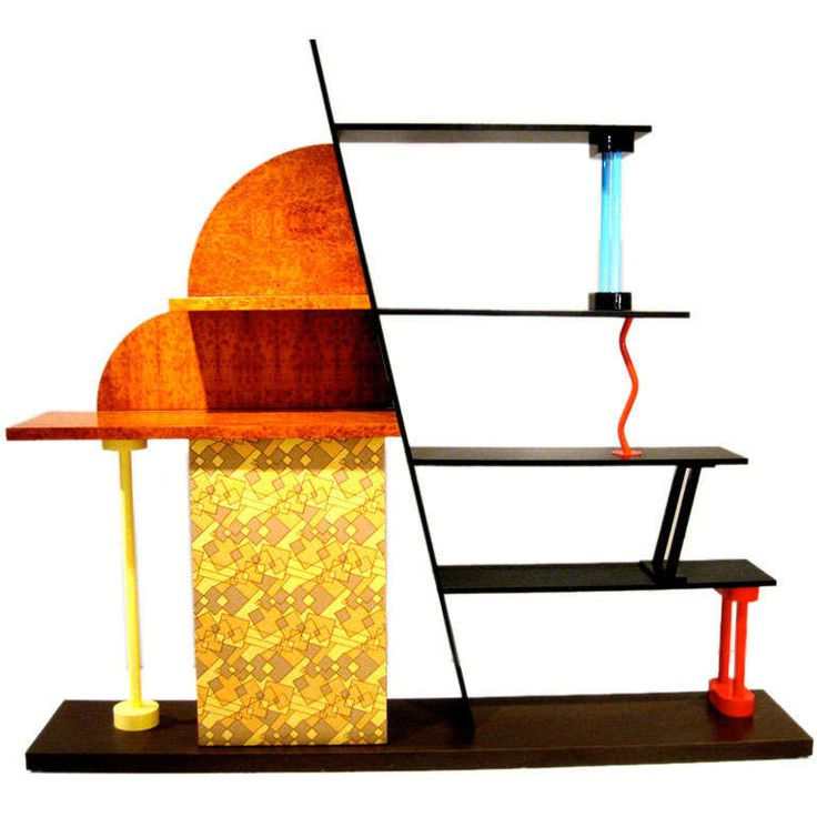 His pieces are most recognizable by the pairing of unexpected form and material and his use of pattern, colour, and curves....  MEMPHIS: 1982 - MALABAR - SIDEBOARD - ETTORE SOTTSASS