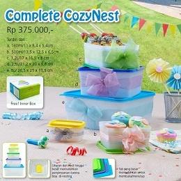 Tupperware Indonesia Complete CozyNest Nama Produk: Complete CozyNest Harga: Rp. 374,000,- Kategori: Katalog Tupperware Indonesia Promosi Mei 2013 Deskripsi Produk:  a. 160ml/11 x 8,4 x 5,4cm b. 500ml/13,5 x 12,5 x 6,5cm c. 1,2L/17 x 16,5 x 8 cm d. 2,5L/21,2 x 20 x 9,8 cm e. 5L/ 26,5 x 25 x 11,5 cm