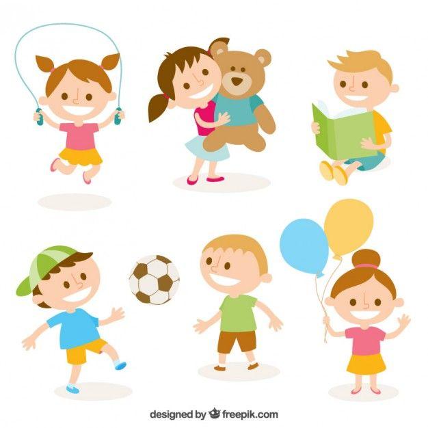 Ilustración linda de niños jugando Vector Gratis