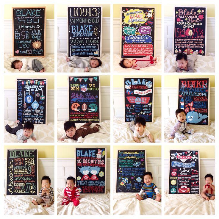 Full year of monthly milestone baby photos
