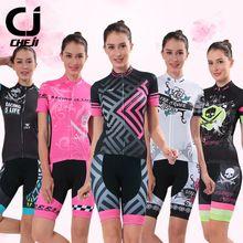US $36.99 Womens CHEJI Cycling Jersey Short Sets For Lady Biking Sportswear MTB Clothing Summer Quick Dry Shirts and GEL Pad Shorts 2017. Aliexpress product