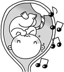 音楽を楽しんでいる胎児のイラスト