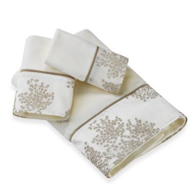Laura Ashley Eleanora Gold/Cream Towel Collection - BedBathandBeyond.com