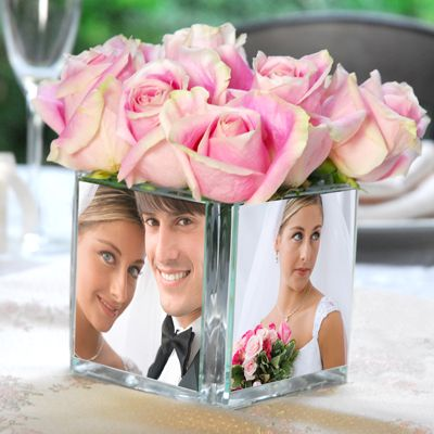 Square Glass Photo Vase- wedding  accessories - wedding reception decorations