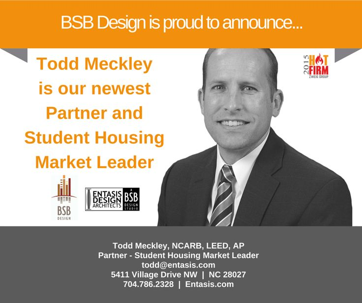 Join us in welcoming Todd Meckley and Entasis Design Architects - A BSB Design Studio to the BSB family! Based in Charlotte, NC, the newest BSB Design studio aims to uphold and expand the reputation for development-driven partnerships that Meckley has built at Entasis. Meckley's work at the outset starts with creation of the pro forma and ends with product design that addresses each market's unique characteristics. Read more here: http://eepurl.com/bunjMn #StudentHousing