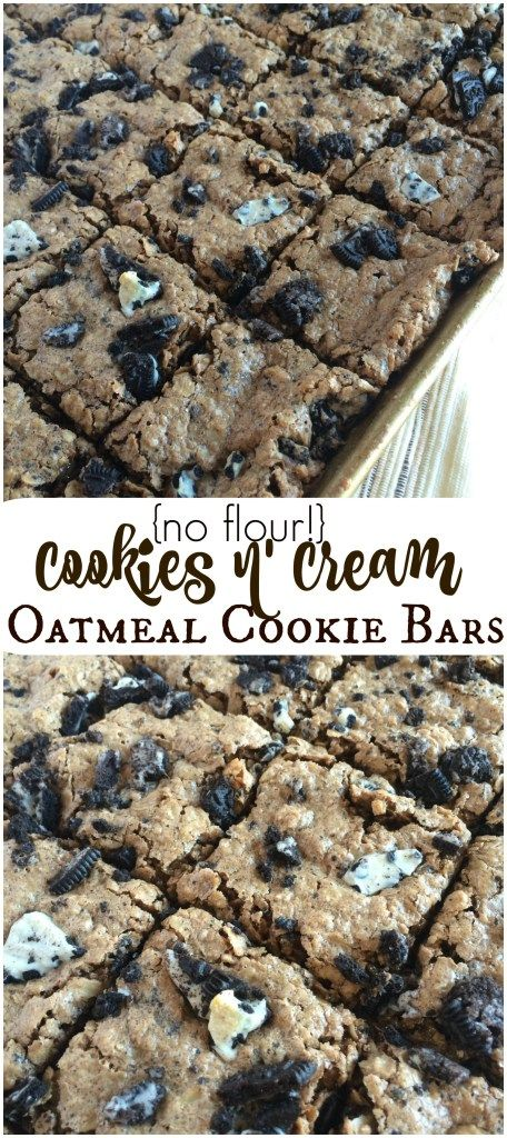 {no flour!} Cookies n' Cream Oatmeal Cookie Bars - Together as Family